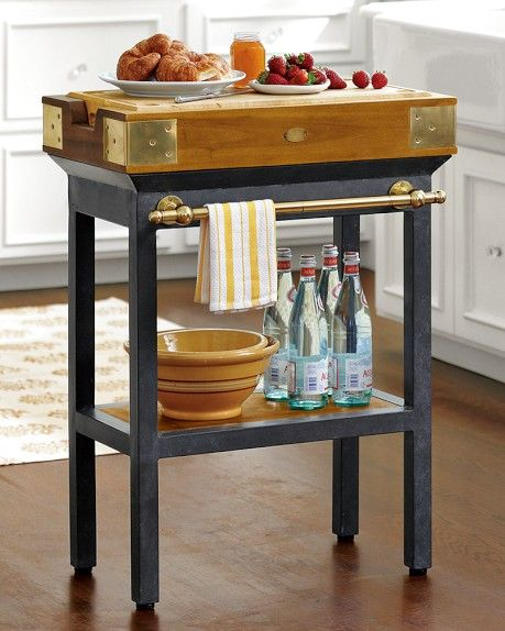 French Chef's Kitchen Island, Single with Shelf
