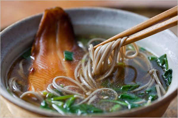 noodle soup with spinach and smoked trout soba noodle soup soba noodle ...