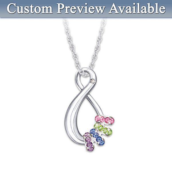 quot s infinite quot personalized birthstone pendant