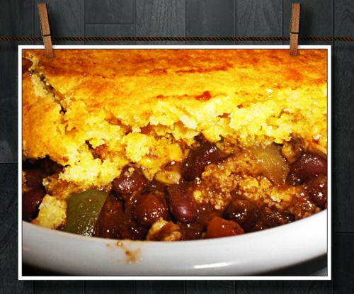 Black bean chili with cornbread topping | Fabulous food | Pinterest