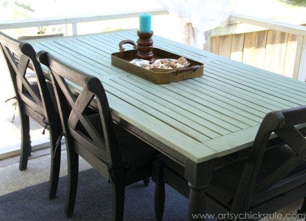 Rescued patio table re do duck egg blue chalk paint - Exterior furniture paint gallery ...