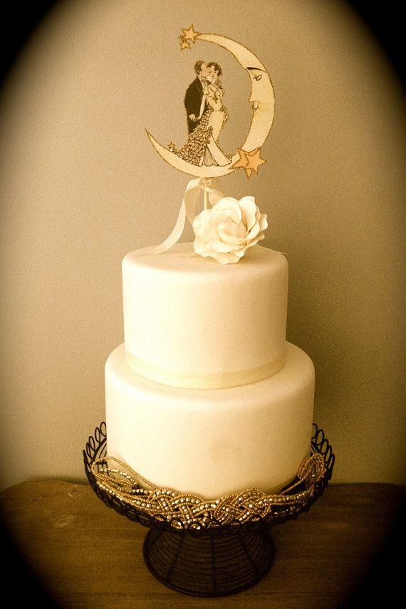 Art deco moon wedding cake topper vintage by jolieenrosevintage