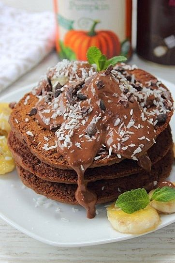 chocolate pumpkin gingerbread pancakes
