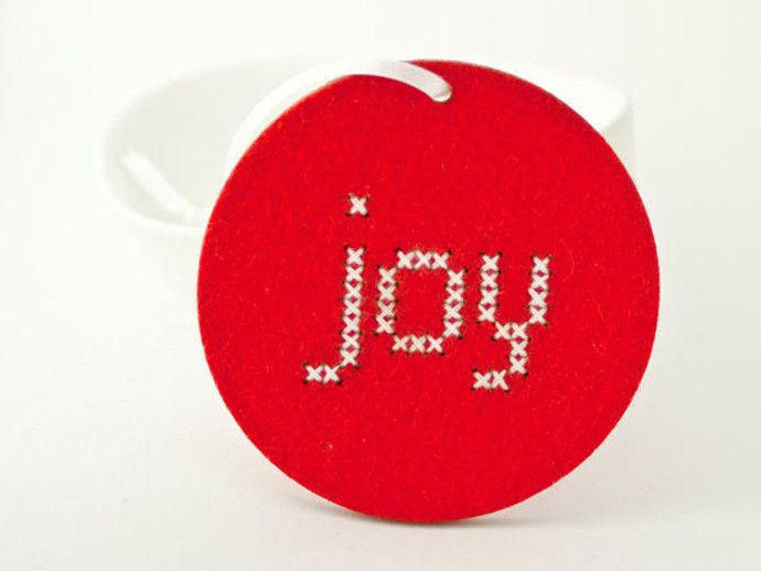 DIY cross stitch ornaments kit. Make your own to give out, or  give the whole kit as a gift.