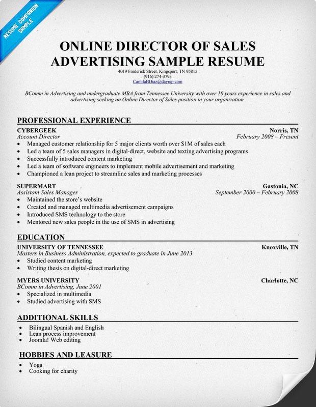 advertising managers resume job description