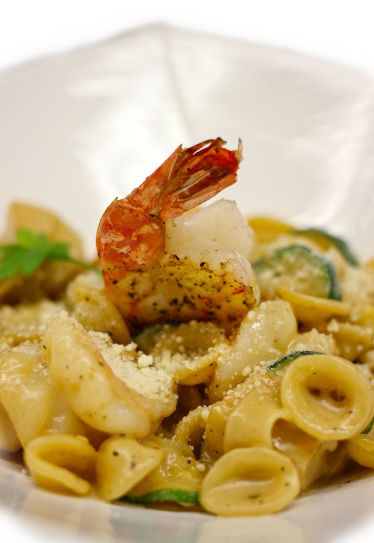 Seafood Orecchiette Pasta Served with scallops, shrimp, zucchini ...