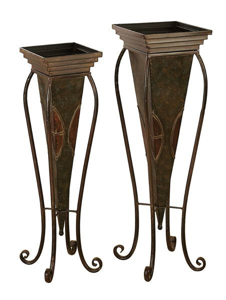 Pair 30 28 Large Scrolling Metal Plant Stands Art French