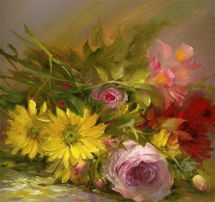 Gary Jenkins American oil flower painter.