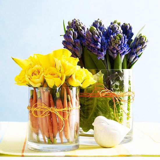 8 chic Easter décor DIYS // vegetable lined centerpieces #entertaining #easter #diy