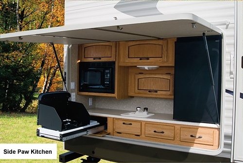 Outdoor kitchen on our trailer camping pinterest for Camper trailer kitchen designs