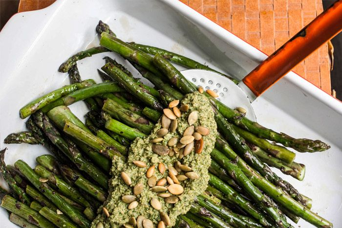 Grilled asparagus with cilantro-pepita pesto by Emilie Zanger for One ...