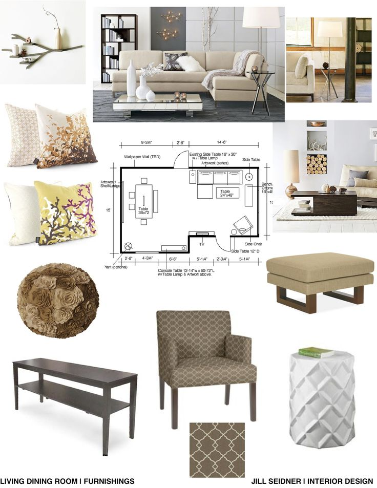 Furnishings concept board for an apartment living and dining room.