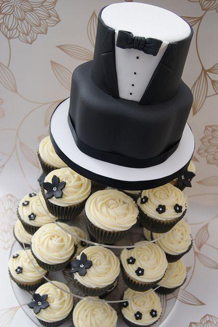 Black Tie Cupcake Tower | Flickr - Photo Sharing!