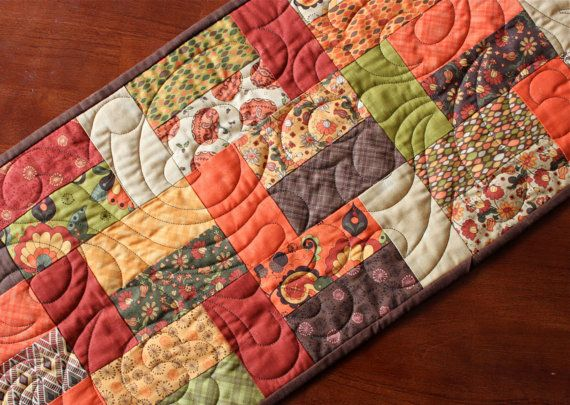 Thanksgiving Quilted Table Runner Patterns : Fall Thanksgiving Pumpkin Quilted Table Runner