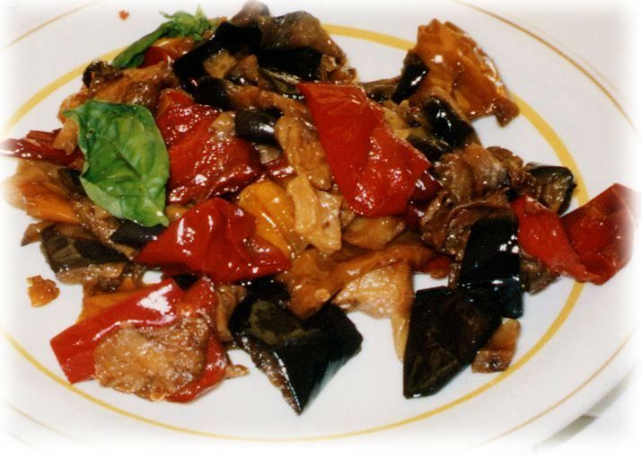 fried eggplant and celery seasoned with sweetened vinegar with capers ...