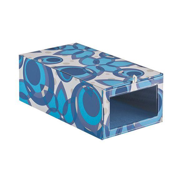 Design Ideas, Stylish Blue Como Drop Front Shoe Box Fits For Energetic