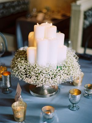 Baby's Breath is beautiful, inexpensive, and hardy! This is a great example of using a wreath of Baby's Breath to make a lovely base around the candles for a centerpiece. Baby's Breath is available year-round at GrowersBox.com!