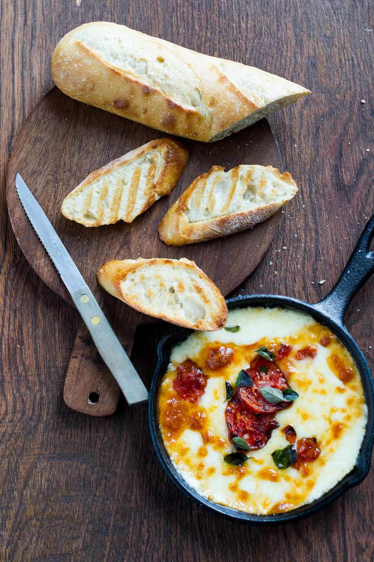 Baked Provolone Grilled Toast with Tomatoes, Marjoram and Balsamic on ...