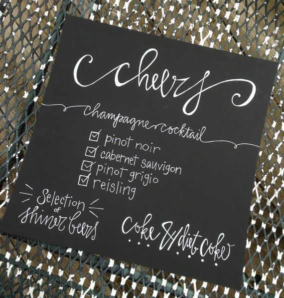 Chalkboard menu calligraphy wedding signs Calligraphy and sign