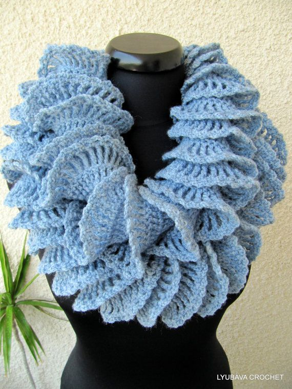 Crochet Ruffle Scarf, Beautiful Crochet Double Ruffle Scarf Blue Gray ...