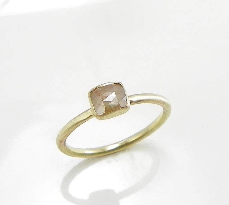 Rose Cut Diamond Ring 14k Gold Handmade Engagement Ring Natural Conflict F
