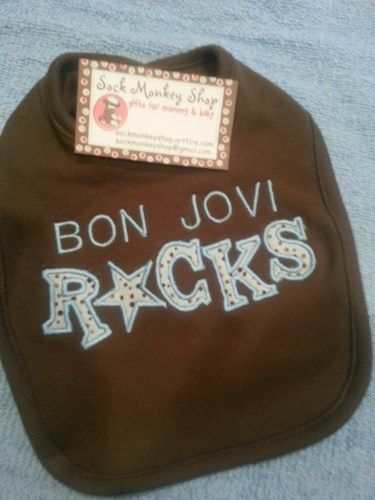 Bon Jovi Rocks Chocolate Brown Bib | sockmonkeyshop - Children's on ...