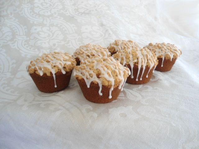Pumpkin Streusel muffins with vanilla glaze drizzle