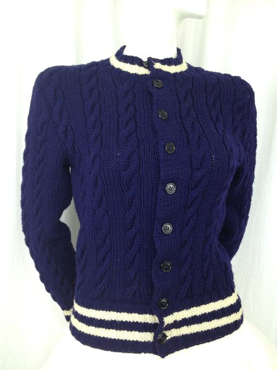 Vintage cable hand knit Wool tennis sweater cardigan Navy blue White