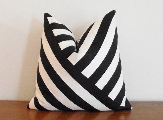 Black And White Striped Throw Pillows : Decorative Pillow Cover- Black and White- Stripes- 18x18