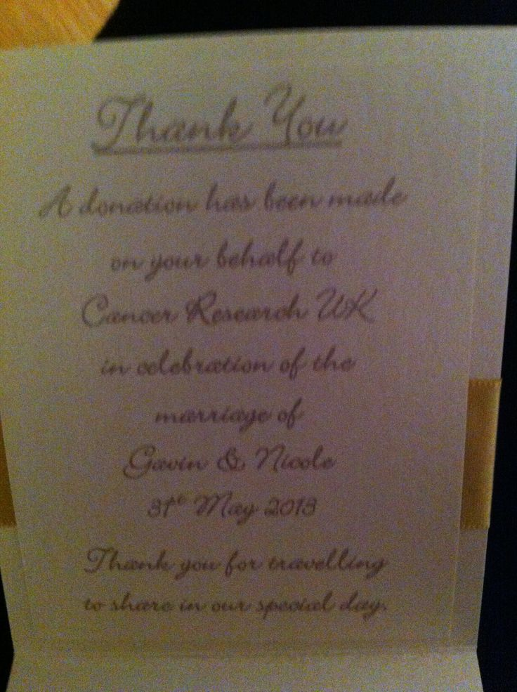 Wedding Gift Poem For Charity : Charity donation name card poem Venice Wedding Pinterest