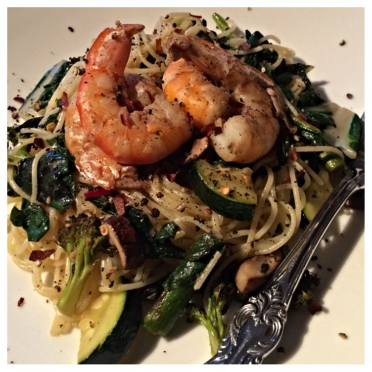 Roasted Veggies with Rainbow Swiss Chard and Shrimp over Angel Hair ...