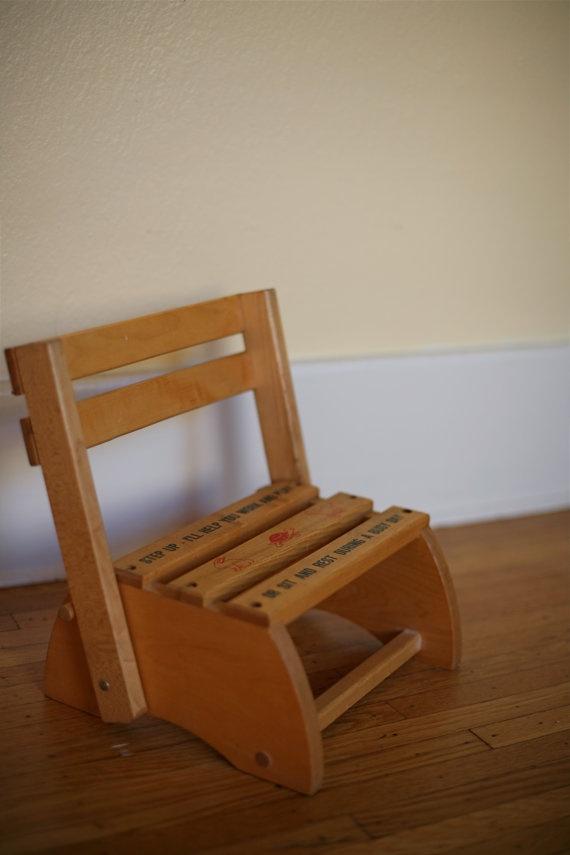 Vintage Wooden Children 39 S Chair Step Up Stool