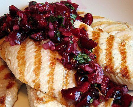 Grilled Tilapia with Cherry Salsa | food | Pinterest
