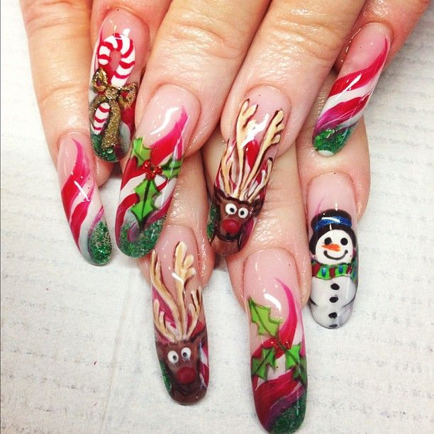 Candy cane bow nails misc pinterest