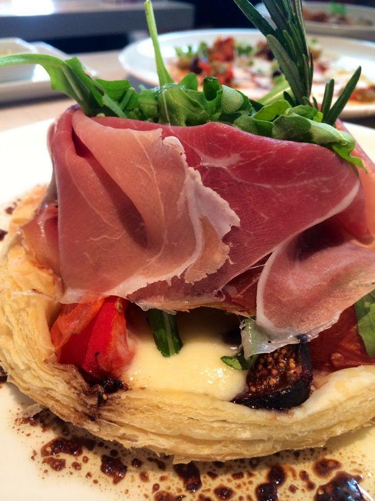 "FIG & OLIVE || ""Spanish Pizza"" Fig Gorgonzola Tartlet with pros..."