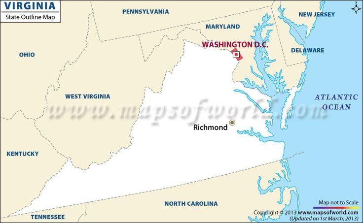 Virginia Outline Map  Httpwwwmapsofworld  Pinterest