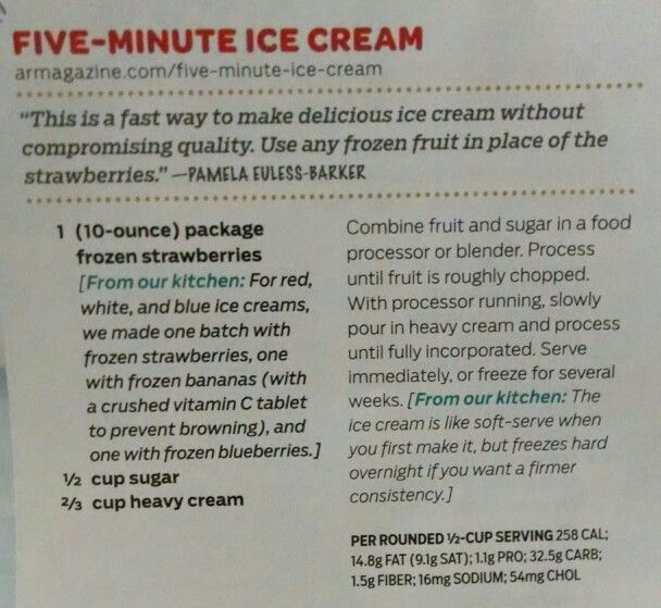Five-Minute Ice Cream | Recipes - Sweets | Pinterest