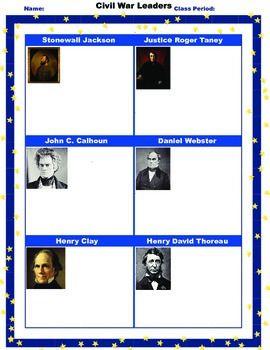 civil war leaders student worksheet printable homework. Black Bedroom Furniture Sets. Home Design Ideas