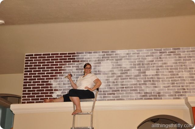 all things thrifty diy brick panel from lowe 39 s antiqued