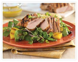 ... pork chops and grilled pineapple slices on crisp greens, this salad is