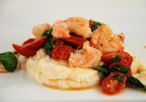 Spinach, tomato, and shrimp with cheese grits
