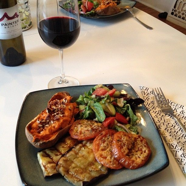 Grilled eggplant, baked parmesan tomatoes, twice-baked sweet potatoes ...