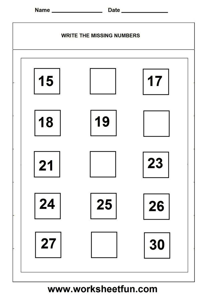 Missing numbers worksheet | Kindergarten Math | Pinterest