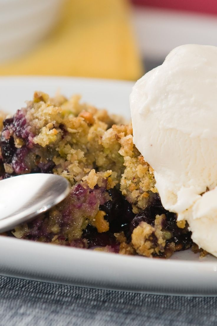 Nectarine and Blueberry Crisp with Amaretti Cookie Topping #Recipe