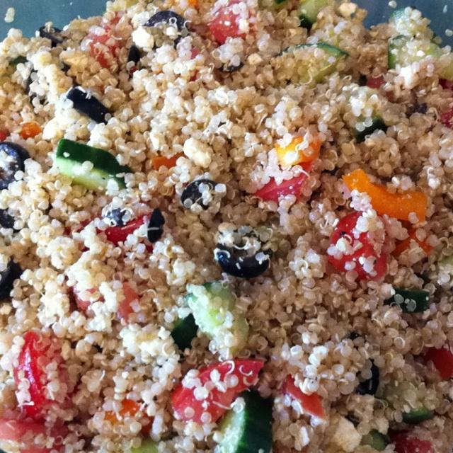 salad: cucumber tomato peppers olives and feta Dressing: lemon juice ...