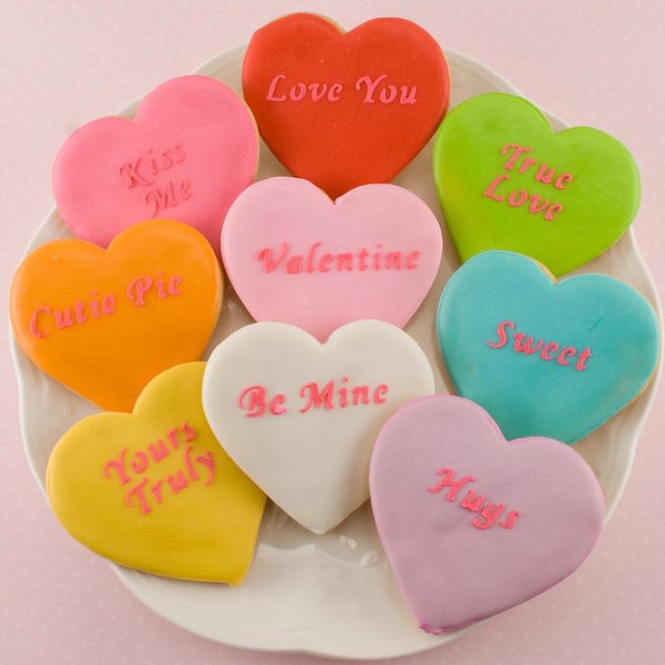 conversation heart sugar cookies | seasons and holidays | Pinterest