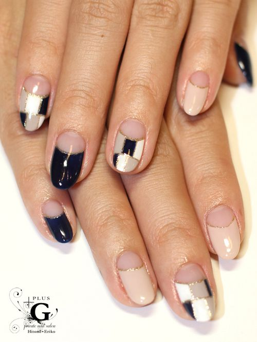 blocking french nail for office casual nail art designs