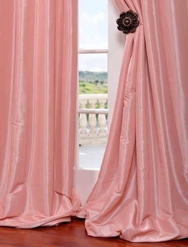 Flamingo Pink Faux Silk Taffeta Curtain | Girl's Bedroom | Pinterest