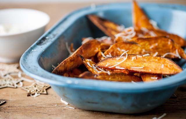 Sweet potato chips with mango crème fraîche and Parmesan snow ...