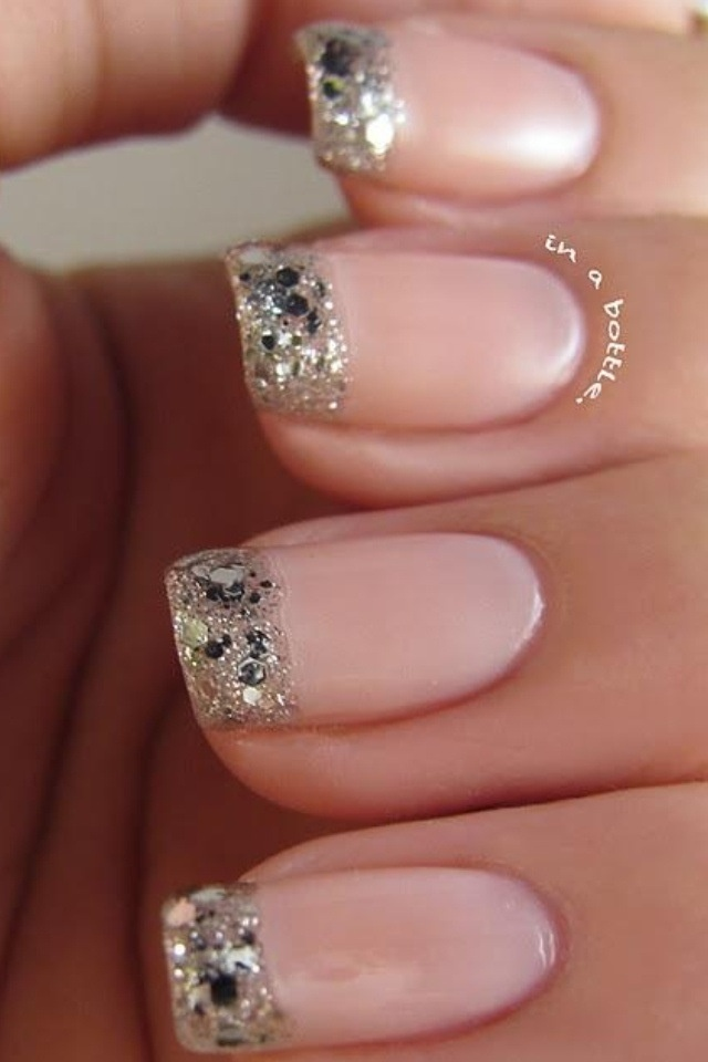 glitter french tip manicure pedicure pinterest. Black Bedroom Furniture Sets. Home Design Ideas